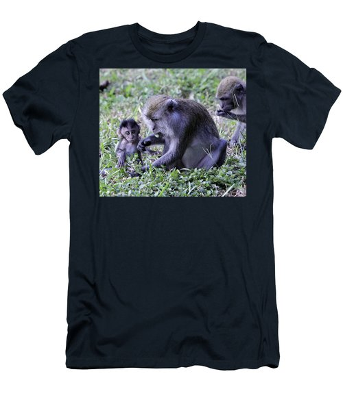 Men's T-Shirt (Slim Fit) featuring the photograph Long Tailed Macaque Family by Shoal Hollingsworth