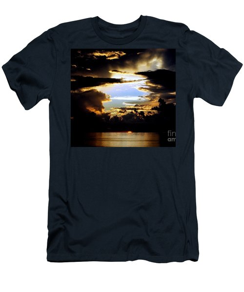 Men's T-Shirt (Slim Fit) featuring the photograph Louisiana Sunset Blue In The Gulf  Of Mexico by Michael Hoard