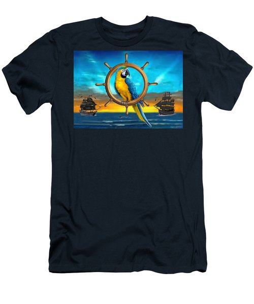 Macaw Pirate Parrot Men's T-Shirt (Slim Fit) by Glenn Holbrook