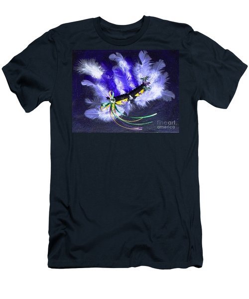 Men's T-Shirt (Slim Fit) featuring the painting Mardi Gras On Purple by Alys Caviness-Gober
