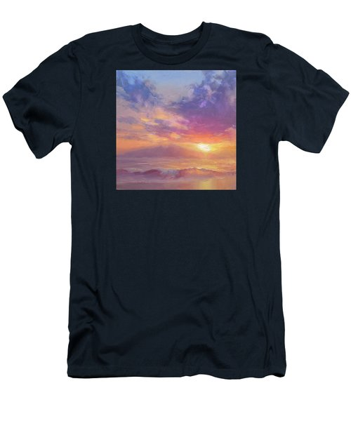 Maui To Molokai Hawaiian Sunset Beach And Ocean Impressionistic Landscape Men's T-Shirt (Slim Fit) by Karen Whitworth