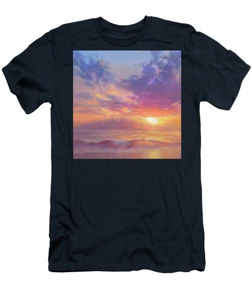 Coastal Hawaiian Beach Sunset Landscape And Ocean Seascape Men's T-Shirt (Athletic Fit)