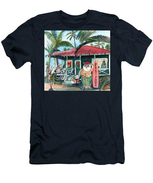 Mele Kalikimaka Hawaiian Santa Men's T-Shirt (Athletic Fit)