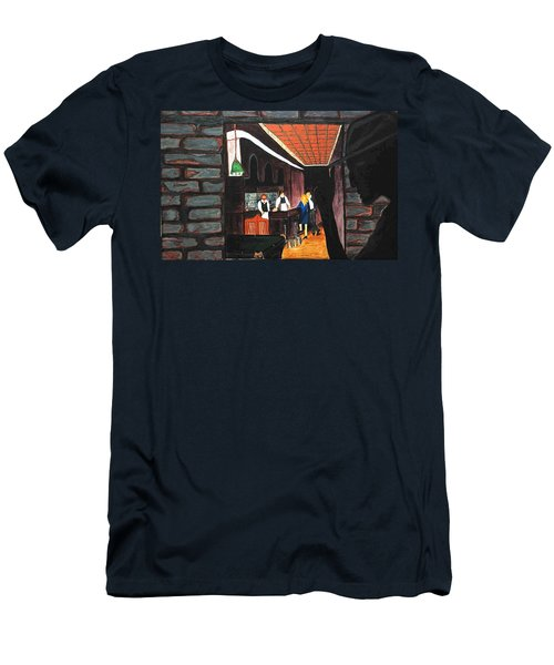 Men's T-Shirt (Slim Fit) featuring the painting Midnight At Dylan's by Lisa Brandel