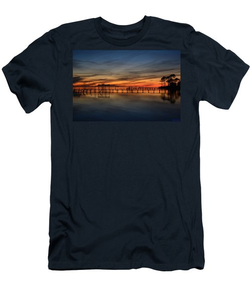 Mirrored Sunset Colors On Santa Rosa Sound Men's T-Shirt (Slim Fit) by Jeff at JSJ Photography