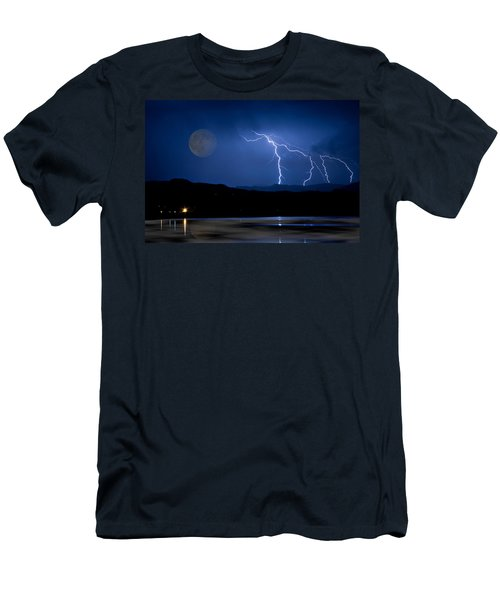 Misty Lake Full Moon Lightning Storm Fine Art Photo Men's T-Shirt (Athletic Fit)
