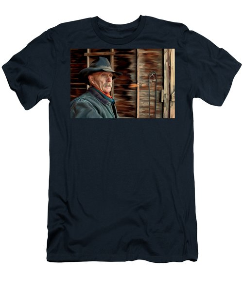 Men's T-Shirt (Slim Fit) featuring the painting Montana Cowboy by Michael Pickett