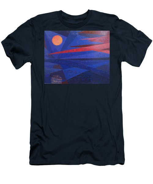 Men's T-Shirt (Slim Fit) featuring the painting Moon Reflecting On A Lake by Walter Casaravilla