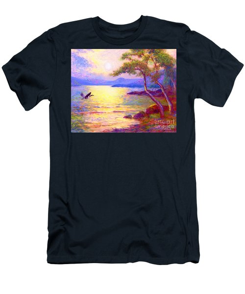 Men's T-Shirt (Slim Fit) featuring the painting  Wild Goose, Moon Song by Jane Small