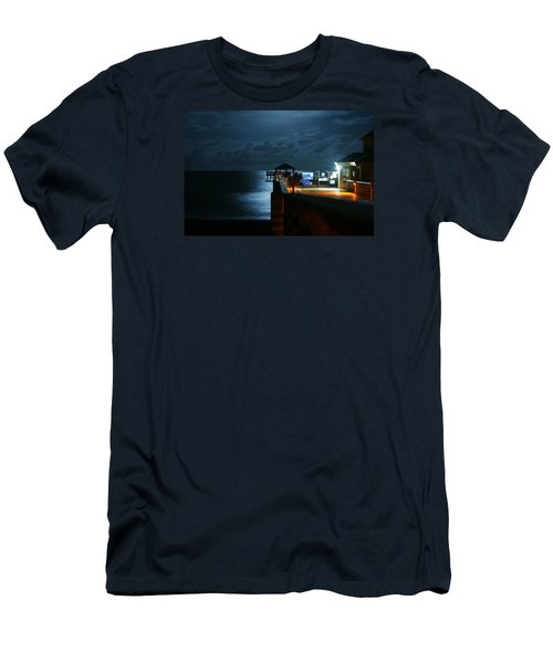 Men's T-Shirt (Athletic Fit) featuring the photograph Moonlit Pier by Laura Fasulo