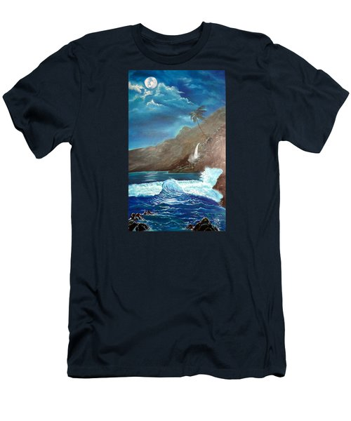 Men's T-Shirt (Slim Fit) featuring the painting Moonlit Wave by Jenny Lee