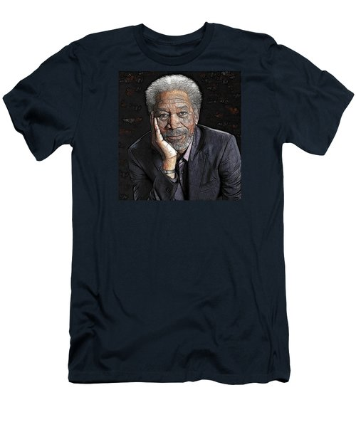 Men's T-Shirt (Athletic Fit) featuring the painting Morgan Freeman  by Georgeta Blanaru
