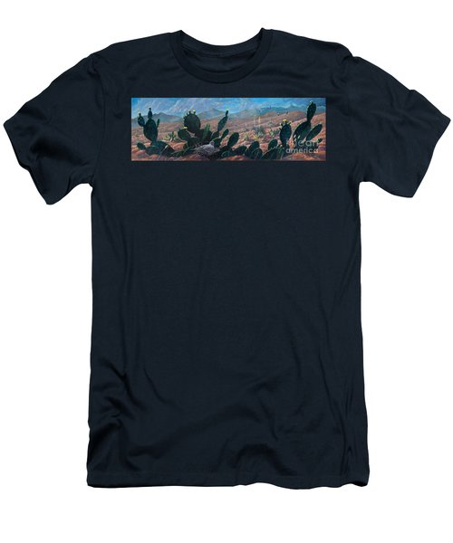 Men's T-Shirt (Slim Fit) featuring the painting Mourning Dove Desert Sands by Rob Corsetti