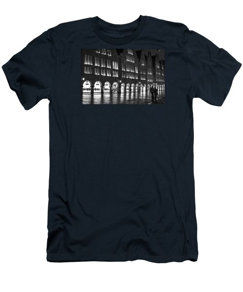 Cobblestone Night Walk In The Town Men's T-Shirt (Slim Fit) by Miguel Winterpacht