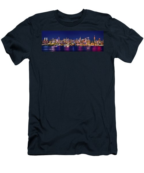 New York City Nyc Midtown Manhattan At Night Men's T-Shirt (Slim Fit) by Jon Holiday