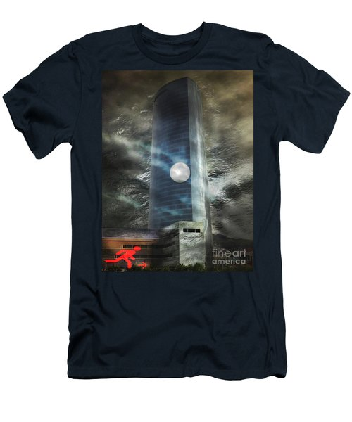 Men's T-Shirt (Slim Fit) featuring the digital art Nightmare Tower by Rosa Cobos
