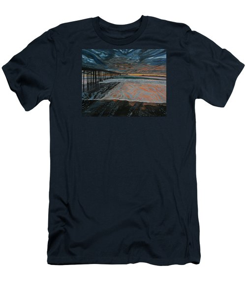 Men's T-Shirt (Slim Fit) featuring the painting North Side Of The Ventura Pier by Ian Donley