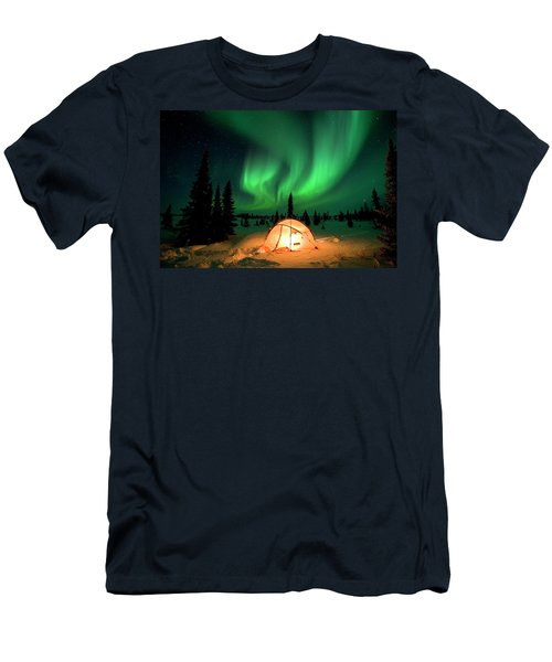 Northern Lights Over Tent Men's T-Shirt (Athletic Fit)