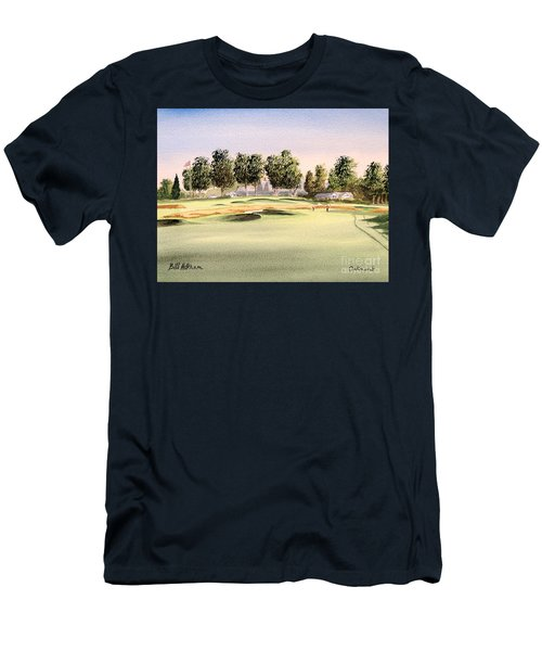Men's T-Shirt (Athletic Fit) featuring the painting Oakmont Golf Course 14th by Bill Holkham