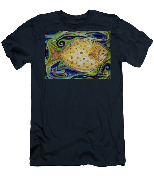 Men's T-Shirt (Slim Fit) featuring the painting Off The Hook by Cynthia Lagoudakis