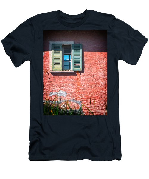 Men's T-Shirt (Slim Fit) featuring the photograph Old Window With Reflection by Silvia Ganora