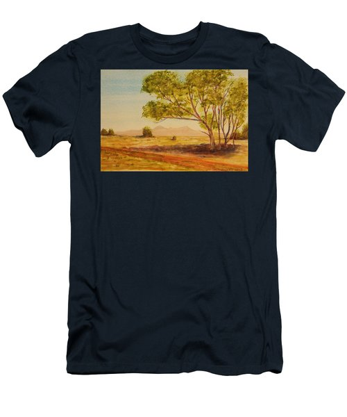 Men's T-Shirt (Slim Fit) featuring the painting On The Road To Broken Hill Nsw Australia by Tim Mullaney