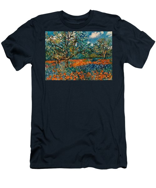 Orange And Blue Flower Field Men's T-Shirt (Athletic Fit)