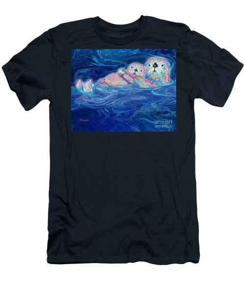 Men's T-Shirt (Slim Fit) featuring the mixed media Otter Family by Teresa Ascone