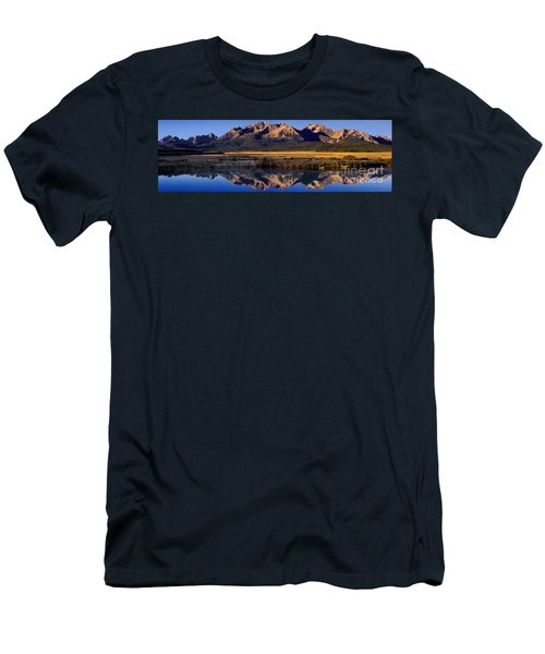 Men's T-Shirt (Slim Fit) featuring the photograph Panorama Reflections Sawtooth Mountains Nra Idaho by Dave Welling