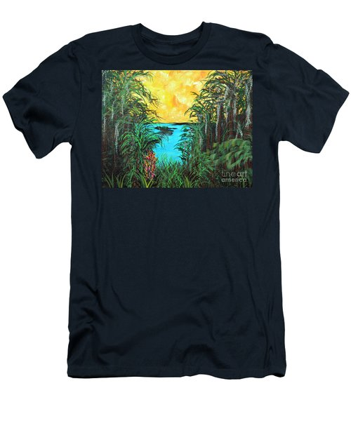 Men's T-Shirt (Slim Fit) featuring the painting Panther Island In The Bayou by Alys Caviness-Gober