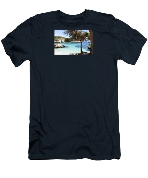 Paradise In Minorca Is Called Cala Mitjana Beach Where Sand Is Almost White And Sea Is A Deep Blue  Men's T-Shirt (Slim Fit) by Pedro Cardona