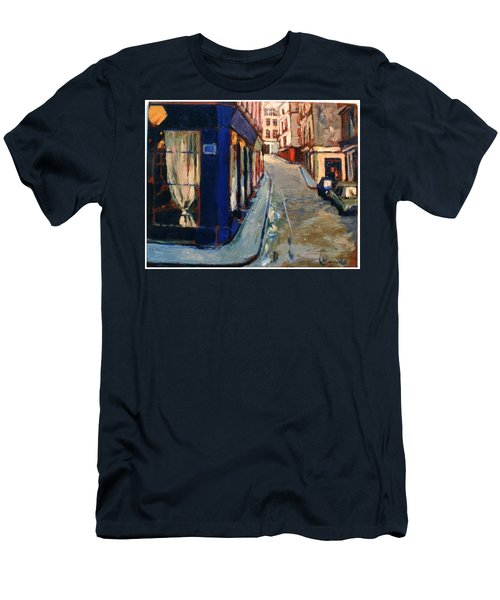 Men's T-Shirt (Slim Fit) featuring the painting Paris Cityscape by Walter Casaravilla