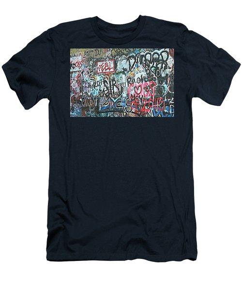 Paris Mountain Graffiti Men's T-Shirt (Slim Fit) by Kathy Barney
