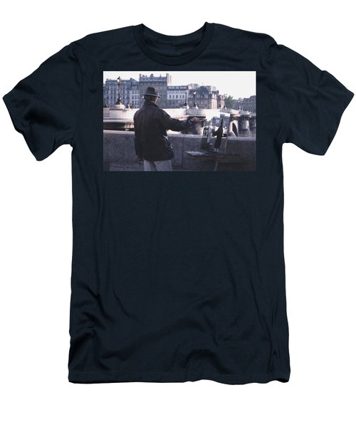Men's T-Shirt (Slim Fit) featuring the photograph Paris Painter Inspiration Magritte by Tom Wurl