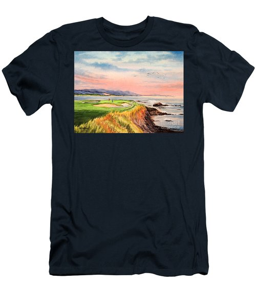 Men's T-Shirt (Athletic Fit) featuring the painting Pebble Beach Golf Course Hole 7 by Bill Holkham