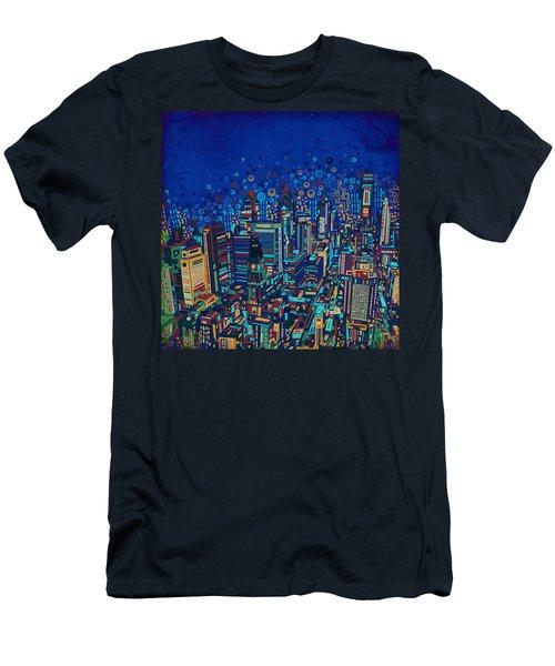 Philadelphia Panorama Pop Art 2 Men's T-Shirt (Slim Fit) by Bekim Art