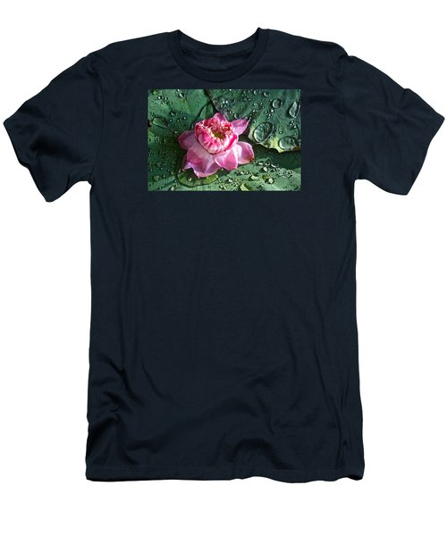 Pink Lotus Flower Men's T-Shirt (Slim Fit) by Venetia Featherstone-Witty
