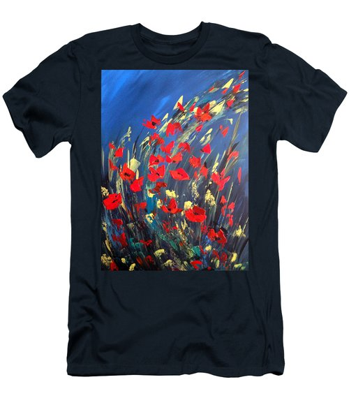 Poppies Field On A Windy Day Men's T-Shirt (Slim Fit) by Dorothy Maier