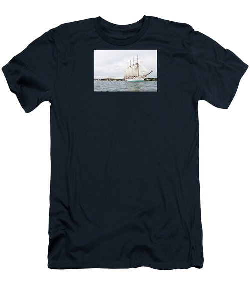 Juan Sebastian De Elcano Famous Tall Ship Of Spanish Navy Visits Port Mahon In Front Of Bloody Islan Men's T-Shirt (Athletic Fit)