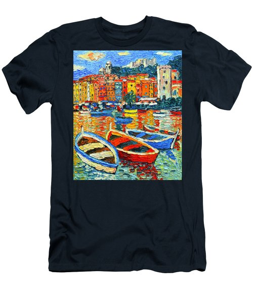 Portovenere Harbor - Italy - Ligurian Riviera - Colorful Boats And Reflections Men's T-Shirt (Athletic Fit)