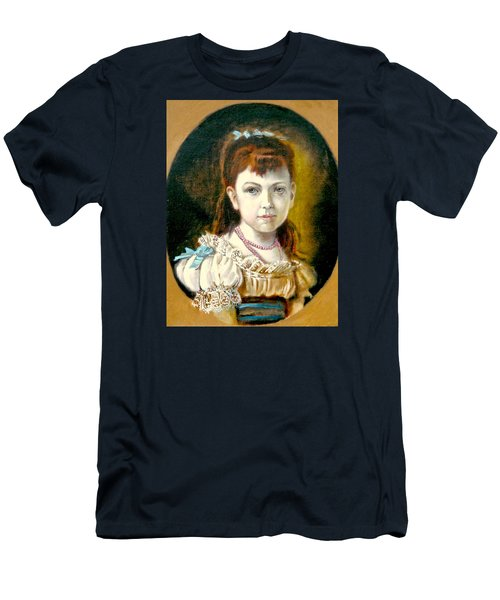 Men's T-Shirt (Slim Fit) featuring the painting Portrait Of Little Girl by Henryk Gorecki