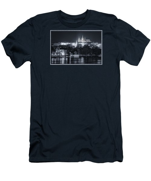 Prague Castle At Night Men's T-Shirt (Slim Fit) by Joan Carroll