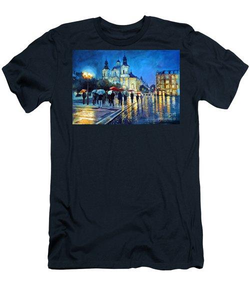 Prague Old Town Square  View Of Street Parizska And St.nicolas Church Men's T-Shirt (Athletic Fit)