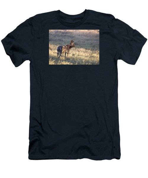 Men's T-Shirt (Slim Fit) featuring the photograph Pregnant African Wild Dog by Liz Leyden