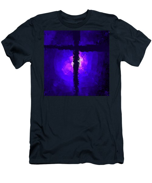 Purple Light Behind The Cross Men's T-Shirt (Athletic Fit)