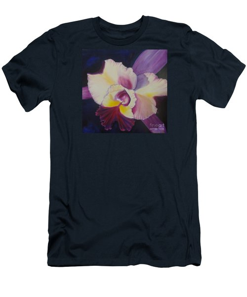 Men's T-Shirt (Slim Fit) featuring the painting Purple Orchid by Jenny Lee