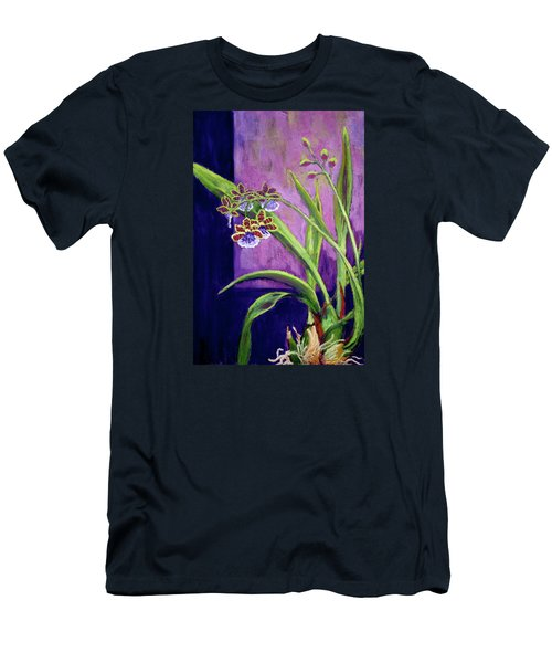 Men's T-Shirt (Slim Fit) featuring the painting Purple Orchids by Nancy Jolley