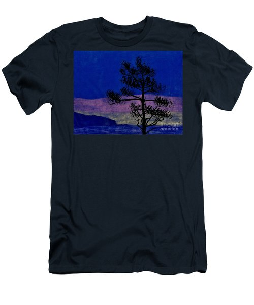 Men's T-Shirt (Slim Fit) featuring the drawing Purple Sunset Bay by D Hackett