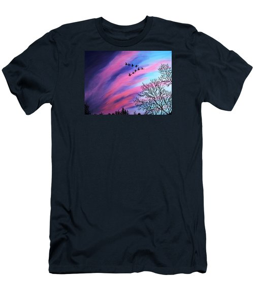 Raging Sky And Canada Geese Men's T-Shirt (Athletic Fit)