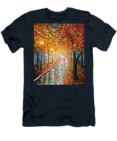 Men's T-Shirt (Athletic Fit) featuring the painting Rainy Autumn Day Palette Knife Original by Georgeta  Blanaru